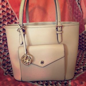 Fawn Michael Michael Kors pocket leather tote,